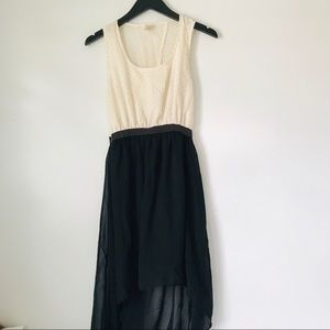 White and Black Contrast High Low Dress